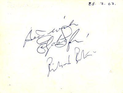 Richard Burton, Elizabeth Taylor signed Card