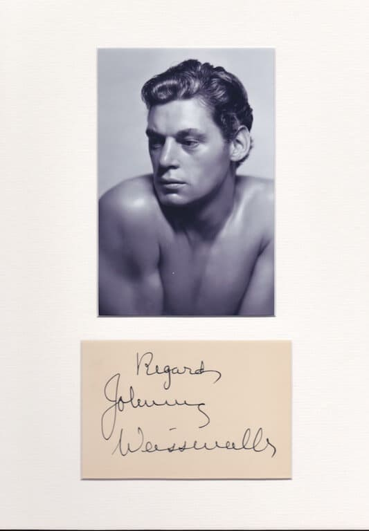 Johnny Weissmuller Signed Autograph Page