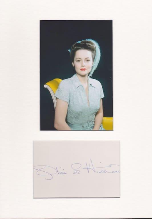 Olivie De Havland Autograph Page