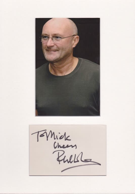 Phil Collins Autograph Page