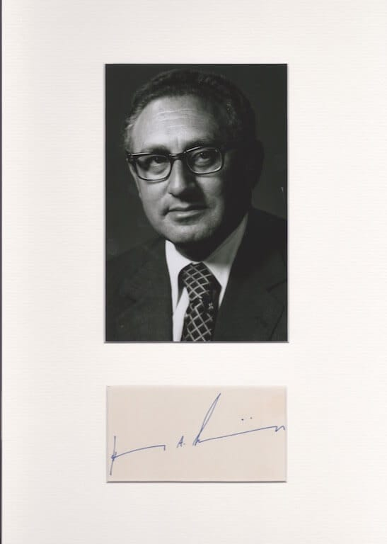 Henry A Kissinger Autograph
