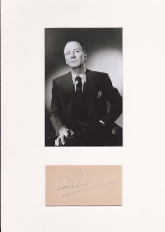 John Gielgud Mounted Autograph