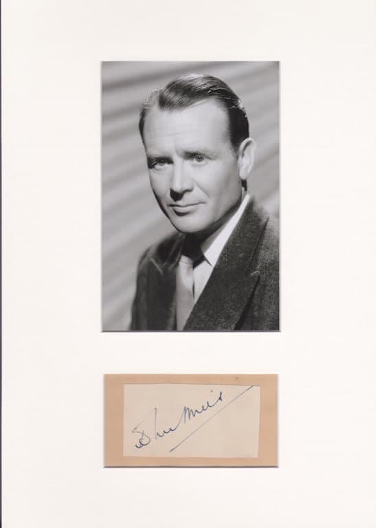 John Mills Mounted Autograph Page