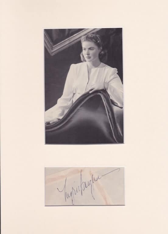 Ingrid Bergman Mounted Autograph