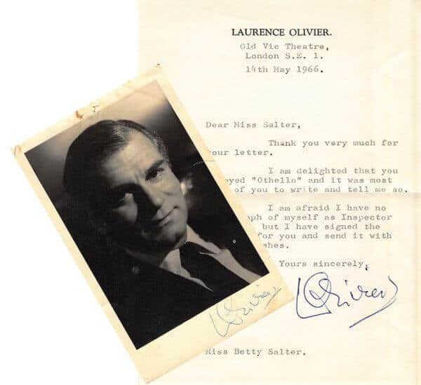 Laurence Olivier Letter, Postcard