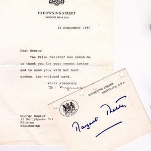 Margaret Thatcher signed headed card with letter from 10 Downing street.