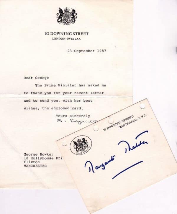 Margaret Thatcher Signed Card