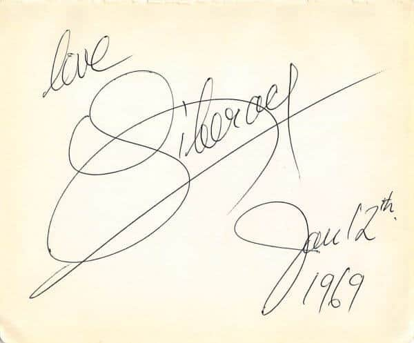 Liberace Autograph Page Dated 1969
