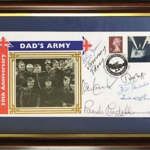 signed by Bill Pertwee, Clive Dunn, Ian Lavender, Pamela Cundell, Frank Williams, Jimmy Perry OBE and David Croft OBE.  Dated 1998 and limited edition number 36-500.
