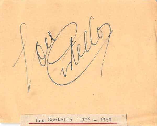 Lou Costello Autograph
