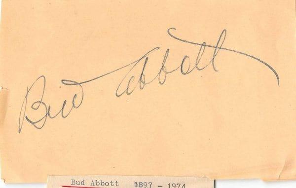 Bud Abbott Autograph Page
