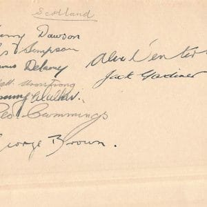 Scotland FC singed team autographs from 1933