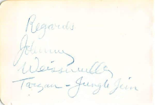 Johnny Weissmuller Autograph Page
