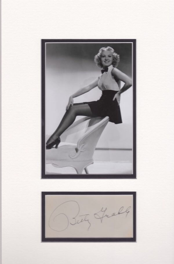 Betty Grable Double mounted autograph