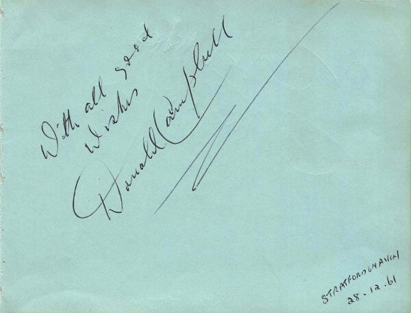 Donald Campbell signed autograph page