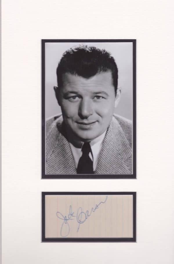 Jack Carson Autograph Mounted