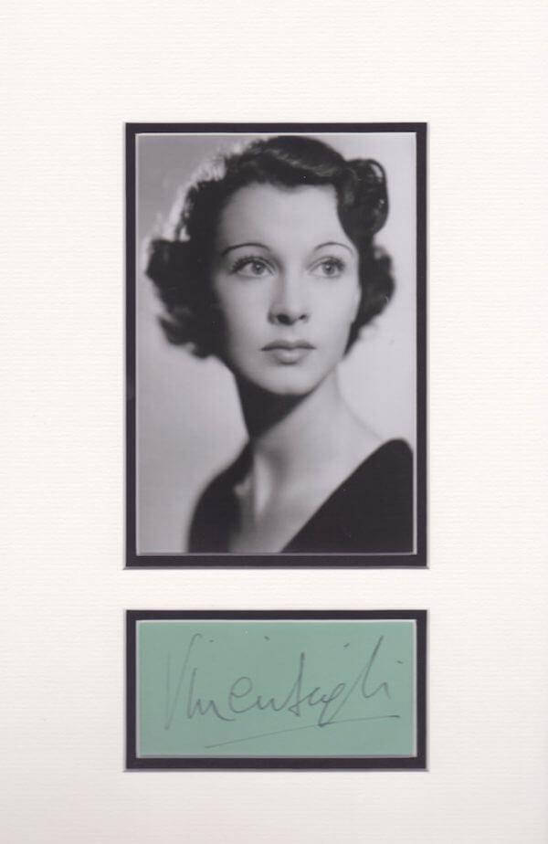 Vivien Liegh Autograph Mounted