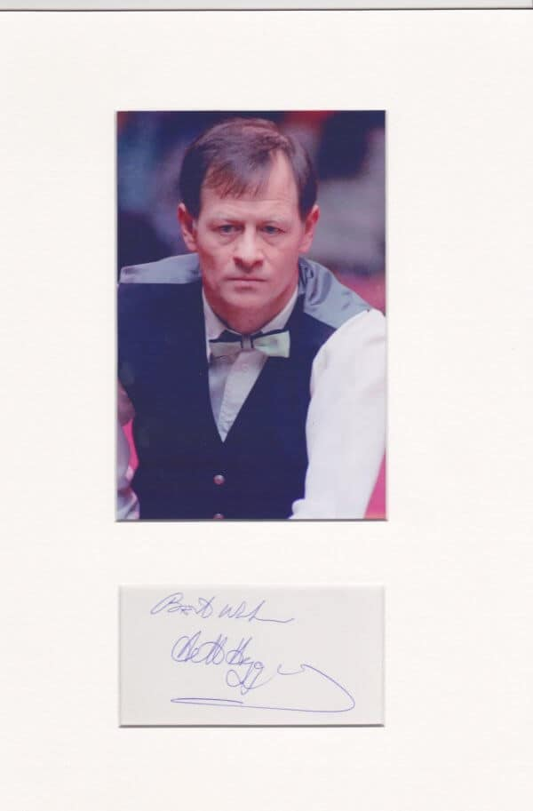 Alex Hurricane Higgins Mounted Autograph