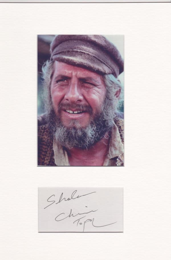 Chaim Topol Mounted Autograph