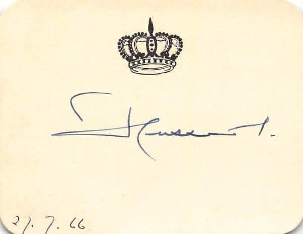King Hussein Of Jordan Signed Card