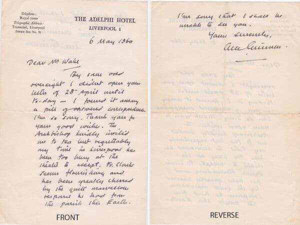 Alec Guinness Hand written Letter