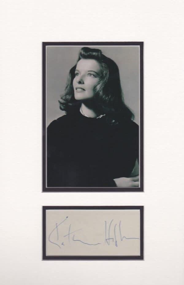 Katherine Hepburn Autograph Page Mounted
