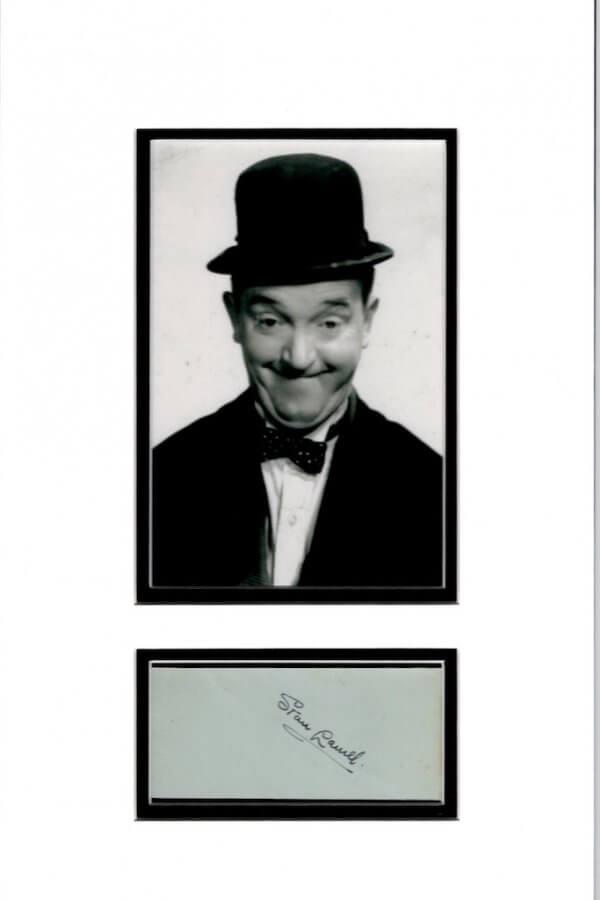 Stan Laurel Autograph Mounted