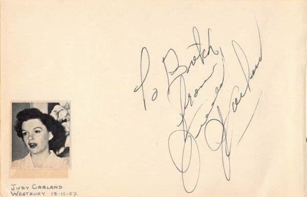 Judy Garland Autograph Page