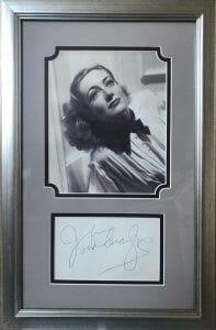 Joan Crawford Framed Autograph