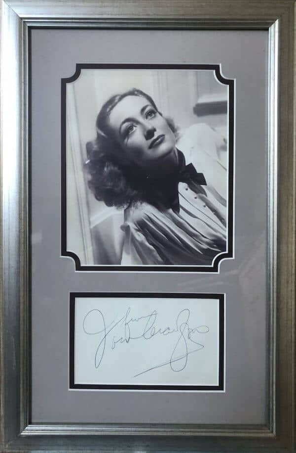 Joan Crawford Framed Autograph