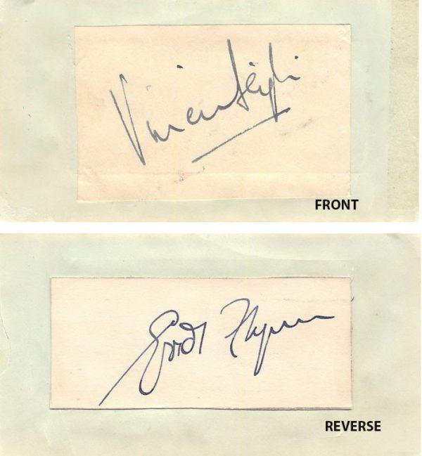 Vivien Leigh & Erroll Flynn Autograph