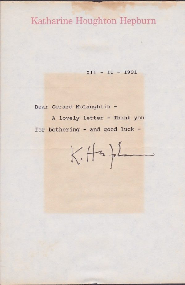 Katharine Hepburn Signed Typed Letter