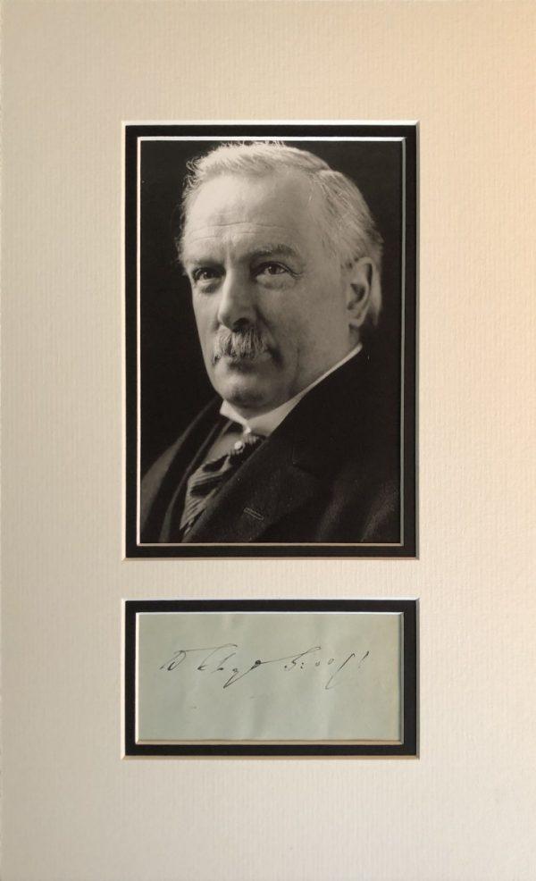 David Lloyd George Autograph Mounted