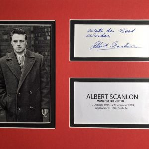"Albert Scanlon one of the ""Busby Babes"" of Manchester United in blue ink."