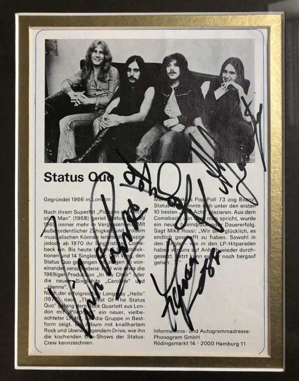 Autograph Page of Status Quo Band