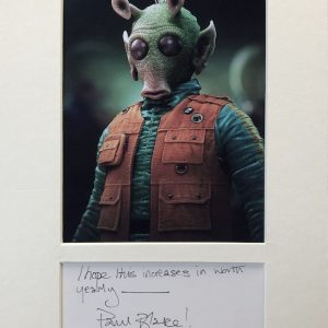 Paul Blake (born 1948/1949) is an English actor. He is most well-known for portraying Greedo in Star Wars