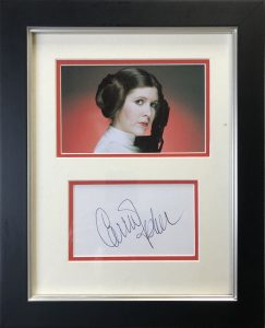 Carrie Fisher Autograph Framed