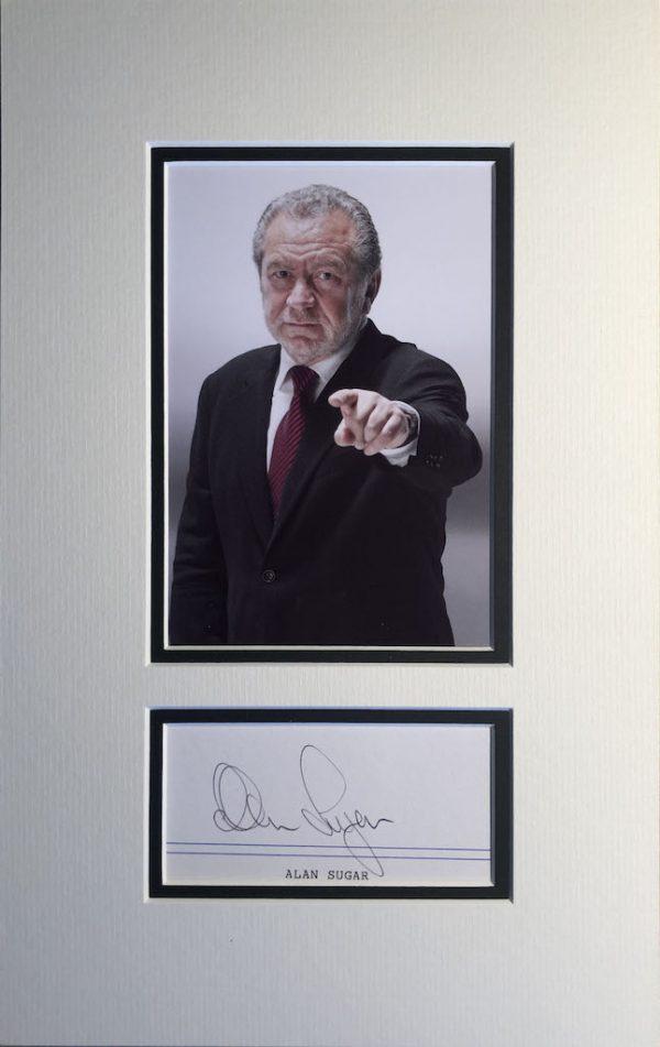 Alan Sugar Autograph Mounted