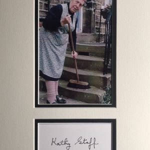 Kathy Staff (born Minnie Higginbottom; 12 July 1928 – 13 December 2008) was an English actress known for her work on British television. She is best known for her portrayal of Nora Batty on Last of the Summer Wine, the longest running sitcom in the world