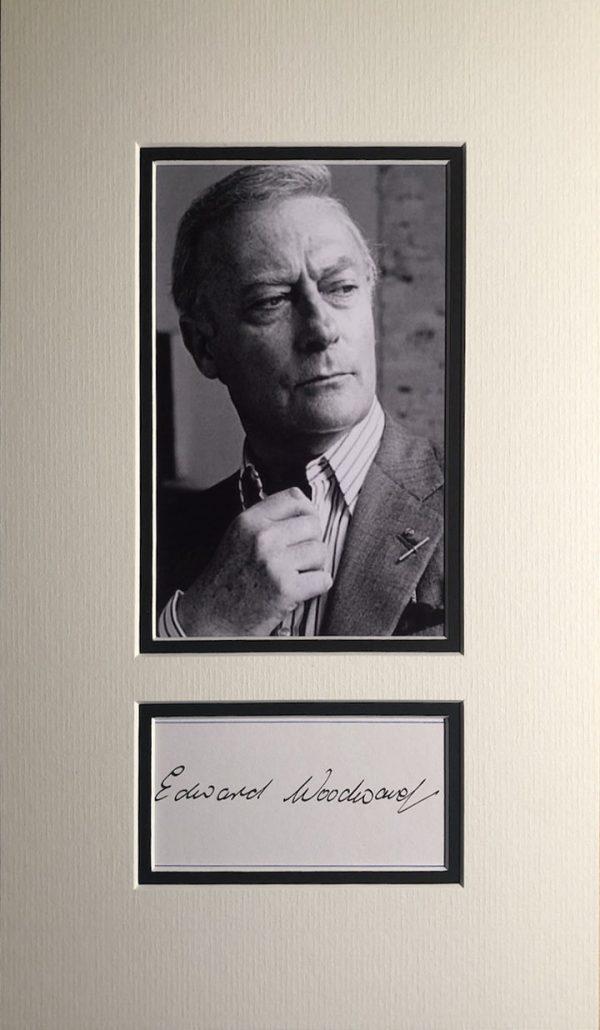 Edward Woodward Autograph Mounted