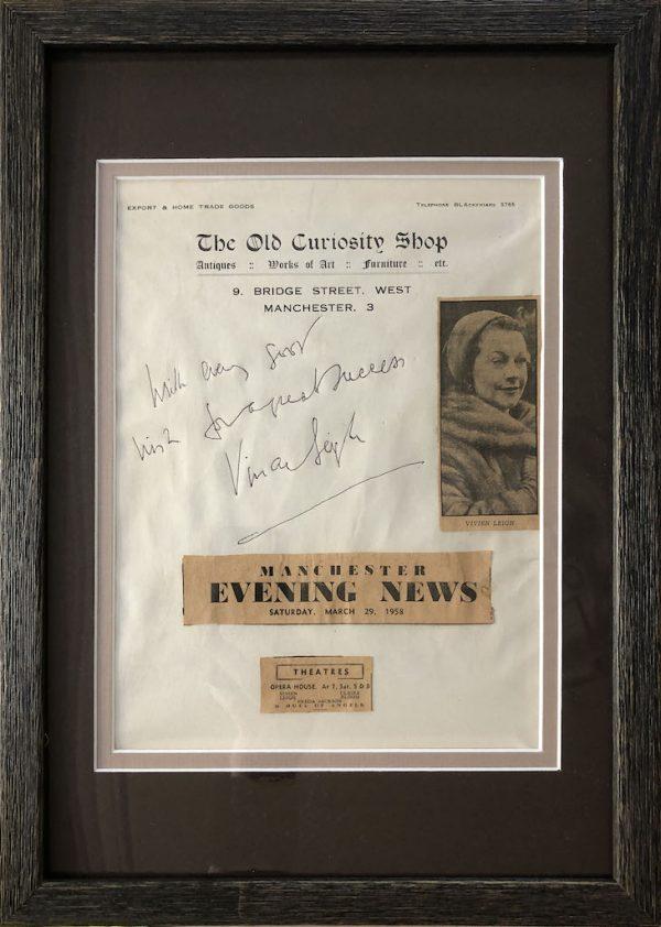Vivien Leigh Signed Page Framed