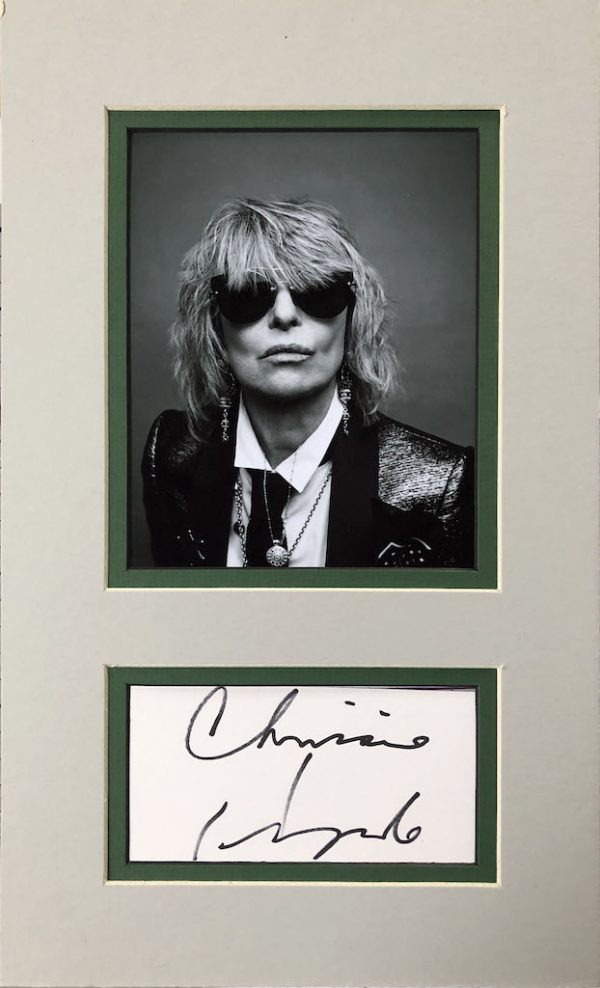 Chrissie Hynde Autograph Page